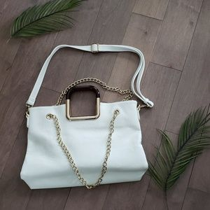 Handbags - White purse gold chain shoulder purse/crossbody